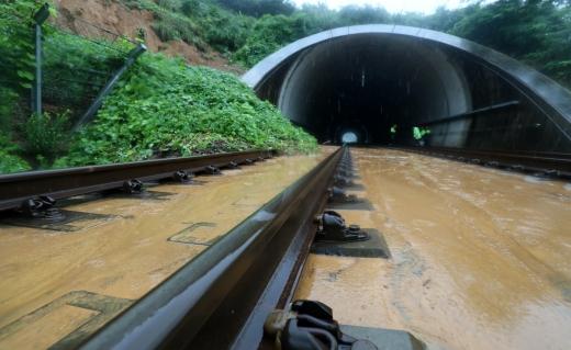 전북지역에 호우경보가 발령된 8일 전북 전라선 아중2터널 앞 철도가 산사태와 낙석으로 덮여 열차 운행이 중단됐다. /사진=뉴스1