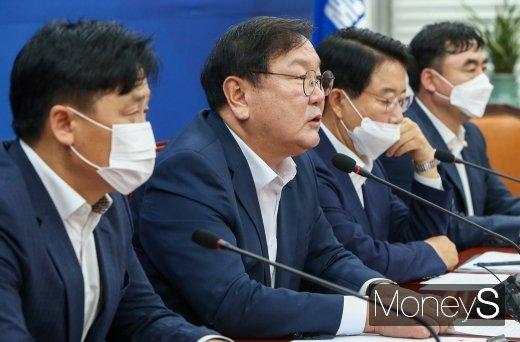 """[머니S포토] 김태년, """"통합당, 8·15 집회 사실상 방조한 것 대해 국민 앞에 사과해야"""""""