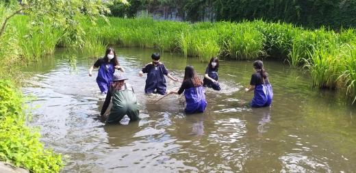 물환경센터가 진행하는 생태조사활동에 참가하는 청소년 탐사대가 물환경조사 활동을 벌이고 있다. / 사진제공=수원시
