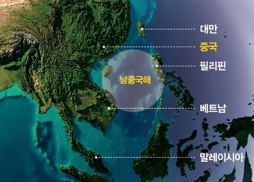 중국영토와 남중국해를 둘러싼 국가들./그래픽=김민준 기자