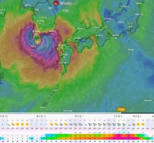 8호 태풍 '바비'가 한반도에서 멀어지는 가운데, 제9호 태풍 '마이삭(MAYSAK)'이 발생해 다음주 한반도에 상륙할 가능성이 제기됐다. /사진=윈디 캡처