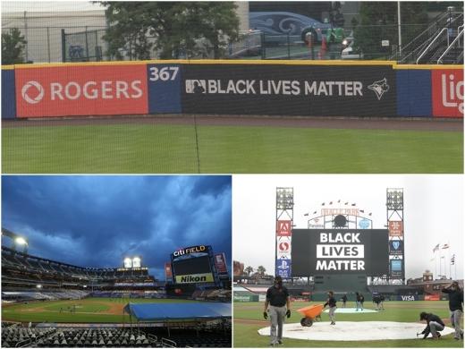 28일(한국시간) 미국 메이저리그 6개 경기가 선수들의 보이콧으로 취소된 가운데, 경기장이 한산한 모습을 보이고 있다. 위쪽부터 시계방향으로 샬렌 필드(토론토 블루제이스), 다저스타디움(LA 다저스), 시티 필드(뉴욕 메츠). /사진=로이터