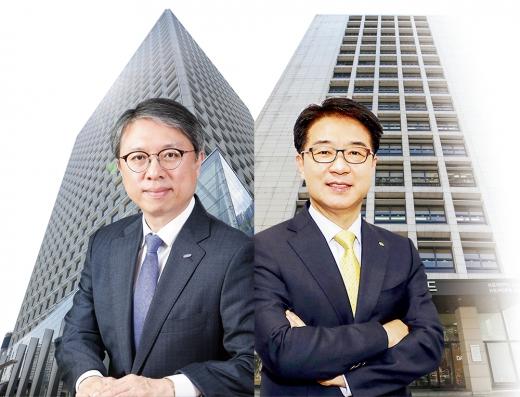 (왼쪽부터) 김대환 삼성카드 대표이사 부사장, 이동철 KB국민카드 대표이사 사장./사진=각 사