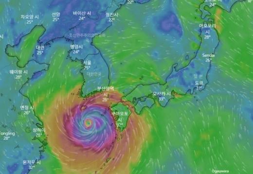 2일 제주지방기상청에 따르면 마이삭은 이날 낮 12시 기준 서귀포 남쪽 약 240㎞ 해상에서 시속 23㎞의 속도로 북진 중이다. /사진=기상 앱 윈디 캡처