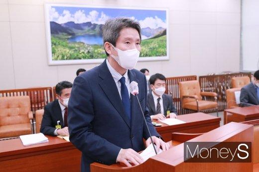 이인영 통일부 장관이 25일 국회에서 열린 외교통일위원회 전체회의에 참석했다. /사진=장동규 기자