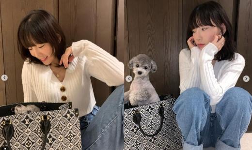 소녀시대 멤버 태연이 반려견과 함께 찍은 사진이 화제를 모으고 있다. /사진=태연 인스타그램