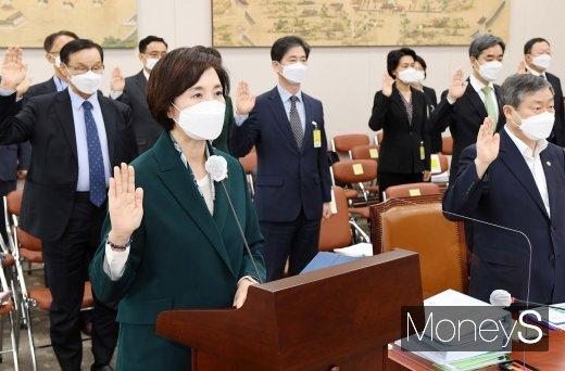 [머니S포토] 교육위원회 국정감사에서 선서하는 유은혜