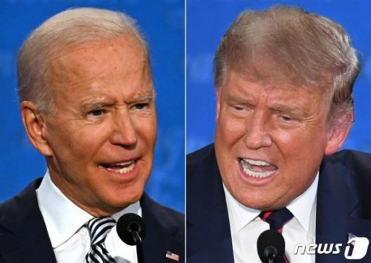 트럼프 대통령과 바이든 후보가 2차 TV토론 개최를 두고 신경전을 벌이고 있다./사진=뉴스1