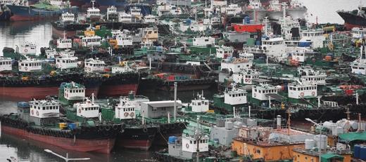 부산항 5부두에 선박이 피항해 있다./사진=뉴스1 여주연 기자