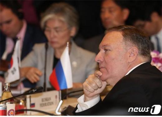 """마이크 폼페이오 미국 국무장관이 """"북한이 지난 2년간 핵 발사를 하지 않은 것은 미국의 대북정책이 성공했다는 것을 보여주는 사실""""이라고 14일(현지시간) 밝혔다./사진=뉴스1"""