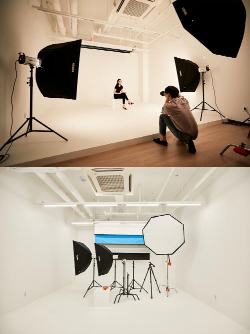 공유오피스 스파크플러스가 코로나19로 경영난을 겪는 기업들에 사무 공간을 지원하는 '최고경영자(CEO) 지원 프로모션'을 진행한다. 사진은 스파크플러스 공용 스튜디오 성수2호점(위), 강남3호점. /사진=스파크플러스