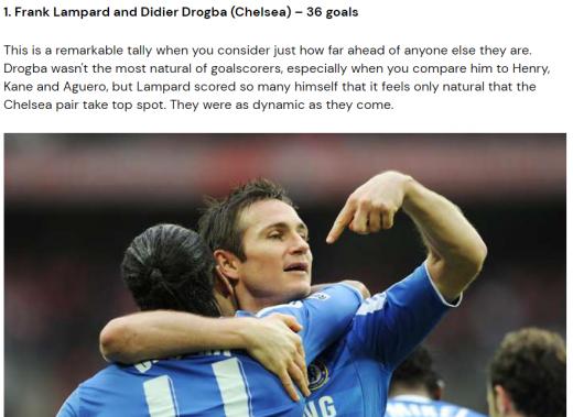 과거 첼시에서 뛰었던 디디에 드록바-프랭크 램파드 듀오는 현역 시절 프리미어리그에서 통산 36골을 합작했다. /사진=로이터