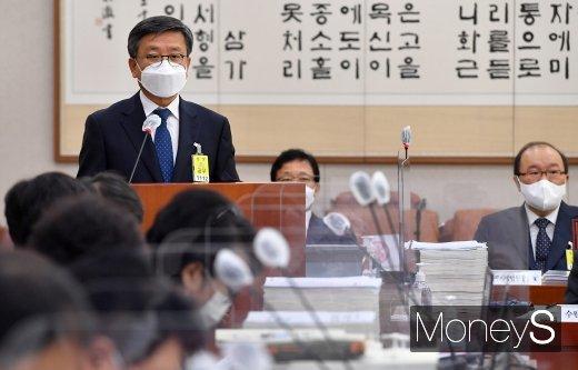 [머니S포토] 법사위 국감, 업무보고하는 김창보 서울고법원장
