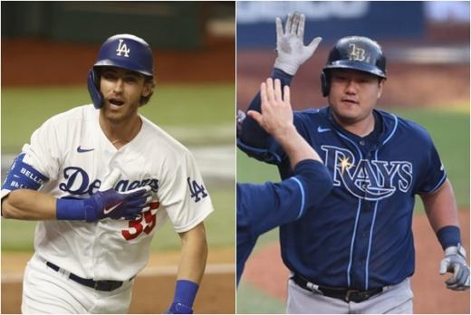 미 프로야구 LA 다저스(왼쪽)와 탬파베이 레이스가 대망의 월드시리즈에서 맞붙는다. /사진=로이터