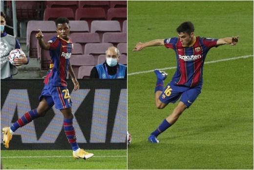 FC 바르셀로나의 2002년생 영건들인 안수 파티(왼쪽)와 페드리는 21일(한국시간) 열린 페렌츠바로시와의 챔피언스리그 경기에서 나란히 득점에 성공했다. /사진=로이터