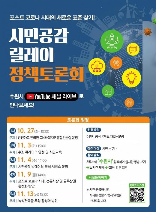 수원시, '포스트코로나 시대' 정책과제 발굴할 토론회 개최 포스터. / 사진제공=수원시