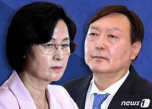 추미애 법무부 장관(왼쪽)과 윤석열 검찰총장 © News1 이지원 디자이너