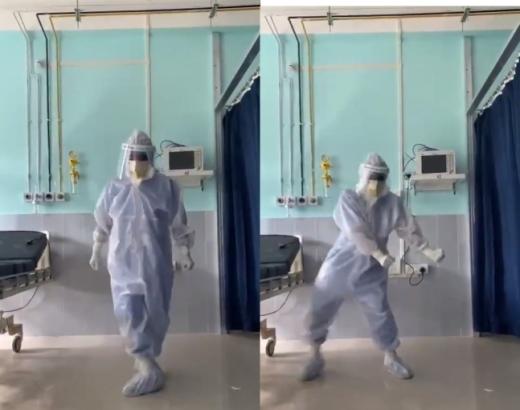 지난 22일(현지시간) 인도 아삼 주 실차르의 한 병원에서 근무하는 의사 아룹 세나파티가 방호복 입고 춤추는 영상이 화제다. /사진=트위터 갈무리