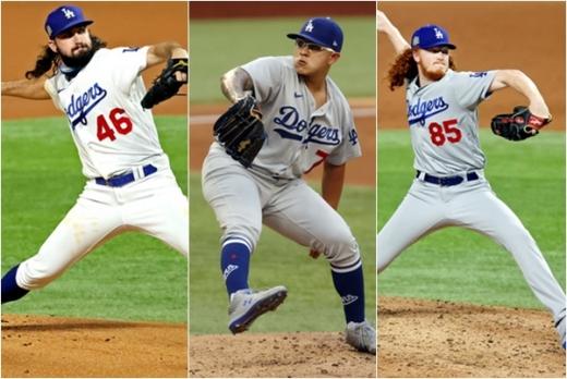 LA 다저스 소속 투수 토니 곤솔린, 훌리오 유리아스, 더스틴 메이(왼쪽부터)는 이번 시즌 팀의 월드시리즈 우승에 공헌했다. /사진=로이터