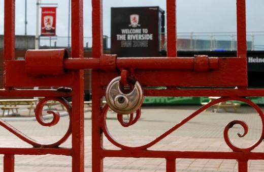 잉글랜드 챔피언십(2부리그) 소속 미들즈브러의 홈구장 리버사이드 스타디움이 코로나19에 따른 무관중 정책으로 인해 문이 닫혀있다. /사진=로이터