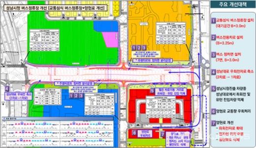 성남시청 앞 버스정류장 일대 성남대로 교통체계 개선사업 표시 도면. / 자료제공=성남시