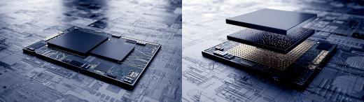 지난 7월 삼성전자는 7나노 EUV 시스템 반도체에 3차원 적층 패키지 기술을 업계 최초 적용한 테스트칩을 선보였다. /사진제공=삼성전자