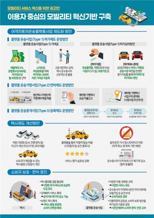 국토교통부가 3일 발표한 모빌리티 서비스 혁신을 위한 권고안. /그래픽=국토교통부