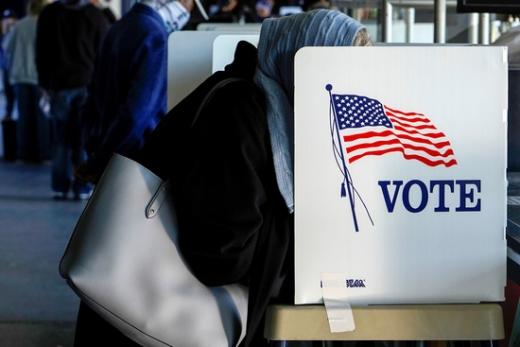 지난달 30일 미국의 한 유권자가 사전투표에 참여하고 있다. /사진=로이터