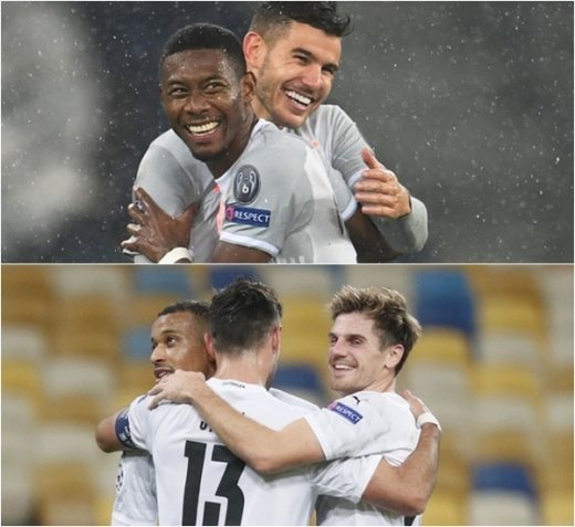 독일 프로축구 바이에른 뮌헨(위)과 보루시아 묀헨글라트바흐가 4일(한국시간) 열린 챔피언스리그 경기에서 각각 6골씩을 터트리며 대승을 거뒀다. /사진=로이터
