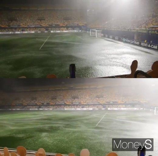 '이런 비 본 적 있어?'… 킥오프 1시간 늦춘 스페인 폭우