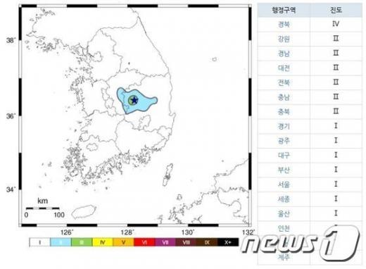 이날 오후 3시26분 경 경북 상주에서 규모 2.9의 지진이 발생했다./사진=뉴스1