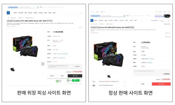 그래픽카드 판매 위장 피싱사이트 비교화면 /사진제공=안랩