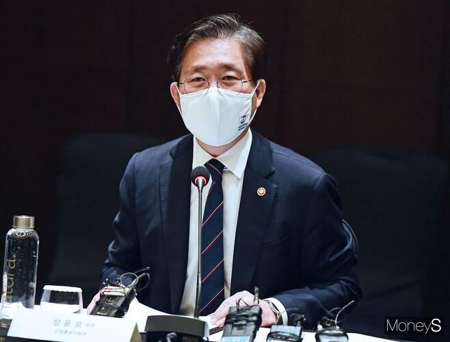 성윤모 산업통상자원부 장관이 18일 서울 여의도 콘래드 호텔에서 열린 RCEP 민관합동 간담회에 참석, 발언하고 있다./사진=임한별 기자