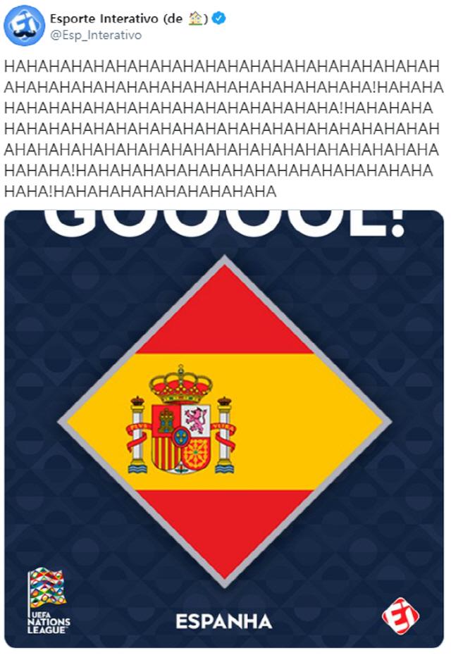 브라질 '에스포르테 인터라티보'가 독일이 유럽 네이션스리그에서 6점차로 대패하자 웃음 가득한 트윗을 올렸다. /사진=트위터 캡처