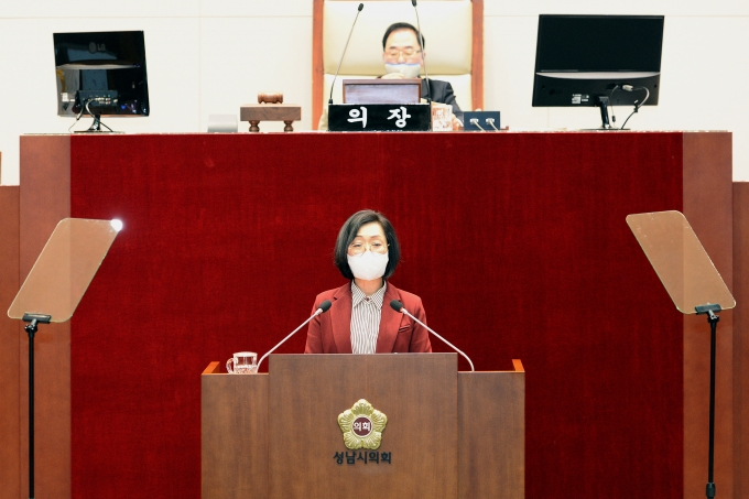 은수미 성남시장이 제259회 성남시의회 제2차 정례회에서 시정연설을 하고 있다. / 사진제공=성남시