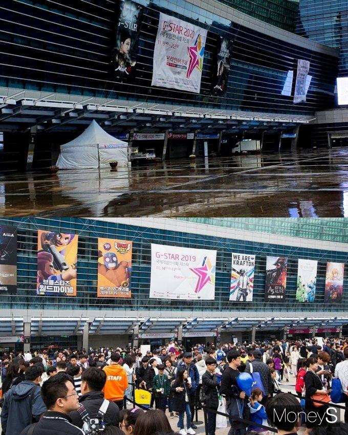 연중 게임업계 최대 축제인 '지스타 2020'이 지난 19일 막을 올렸다. 사진은 각각 지난 19일과 2019년 부산 벡스터 현장. /사진=강소현 기자, 지스타 조직위원회 제공