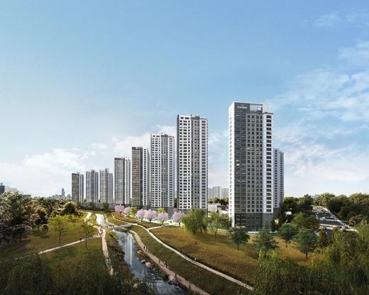 노후주택이 밀집된 지역의 신규 아파트 분양에 관심이 쏠린다. 쌍용건설은 안성시에 '쌍용 더 플래티넘 프리미어'를 분양한다. 지하 2층, 지상 최고 35층, 14개 동, 전용면적 59~141㎡, 총 1,696세대로 조성된다. /사진='쌍용 더 플래티넘 프리미어' 투시도