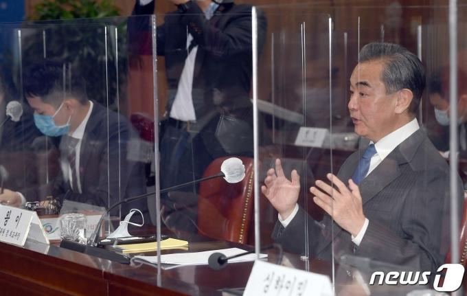 왕이 중국 외교부장이 서울 종로구 외교부청사에서 열린 한중외교장관회담에서 인사말을 하고 있다. /사진=뉴스1