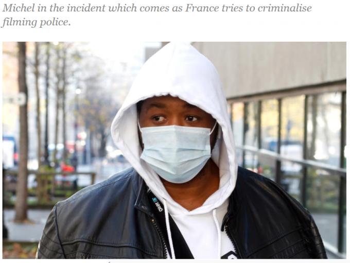 프랑스 파리에서 경찰들에게 폭행을 당한 음악가 미셸이 해당 경찰관들을 당국에 고발했다. /사진=알자지라 보도화면 캡처