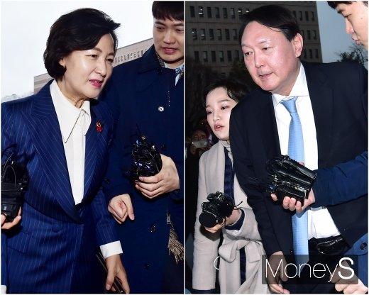 추미애 법무부장관(왼쪽)과 윤석열 검찰총장. /사진=임한별 기자
