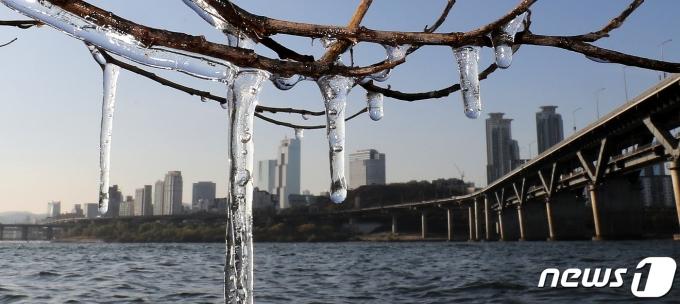 전국에 강추위가 찾아온 지난 28일 오전 서울 뚝섬한강공원에 얼음이 맺혀 있다./사진=뉴스1