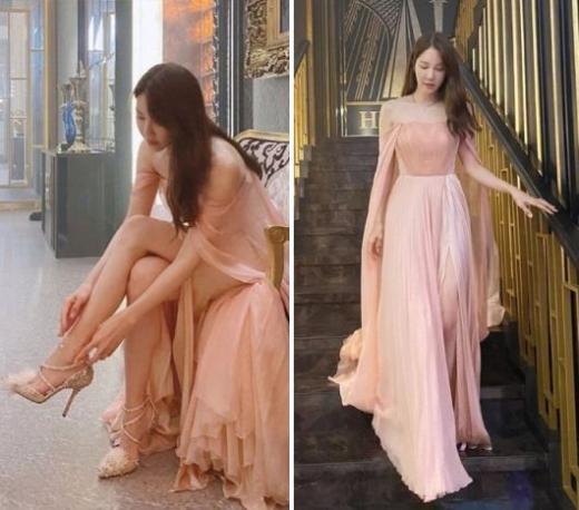 배우 이지아가 롱 드레스를 입고 여신 자태를 뽐냈다. /사진=이지아 인스타그램