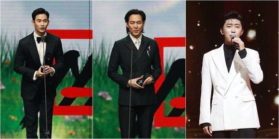 김수현 이정재 임영웅(왼쪽부터)./사진=AAA조직위원회