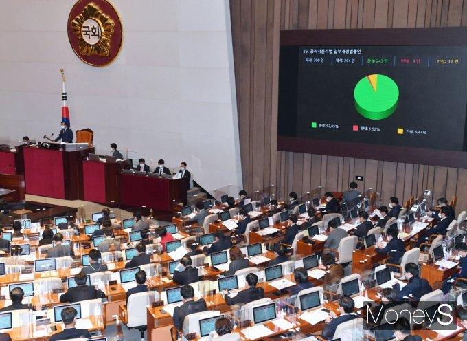 [머니S포토] 주식 이해충돌 방지, 국회 문턱넘은 '공직자윤리법 개정안'