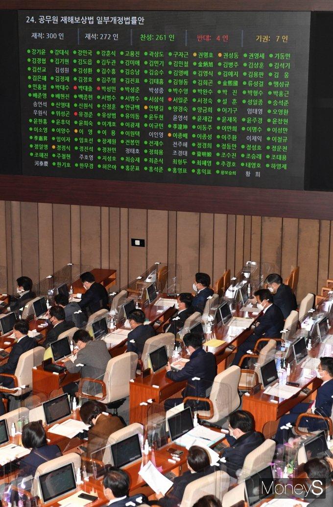 [머니S포토] 국회 본회의 통과된 '공무원재해보상법'
