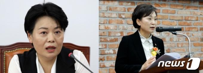 윤희숙 국민의힘 의원(왼쪽)과 김현미 국토교통부 장관© 뉴스1