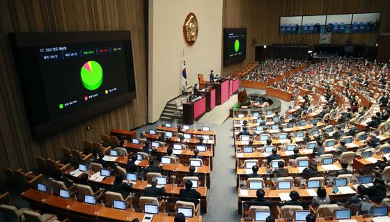 지난 2일 오후 국회에서 열린 제382회 국회 정기회에서 2021년도 예산안이 가결되고 있다. /사진=뉴스1