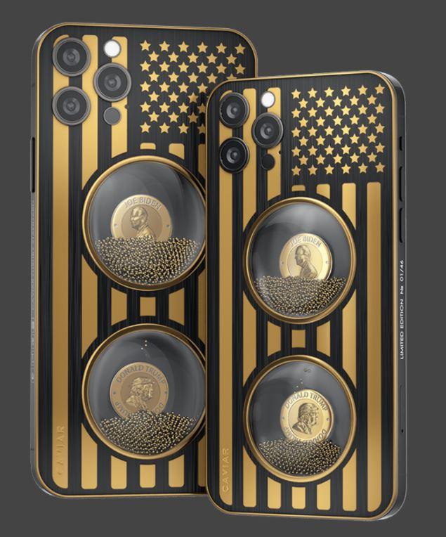 캐비아는 최근 조 바이든 대통령 당선인과 도널드 트럼프 미국 대통령의 얼굴이 뒷면에 새겨진 애플의 '아이폰12 프로'를 출시하기도 했다. /사진=캐비어 제공