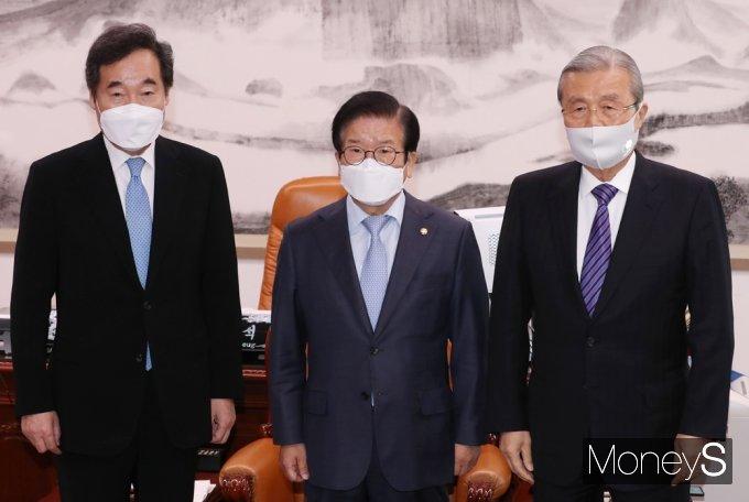 [머니S포토] 여야, 공수처 등 줄다리기 속 국회의장-교섭단체 대표 회동