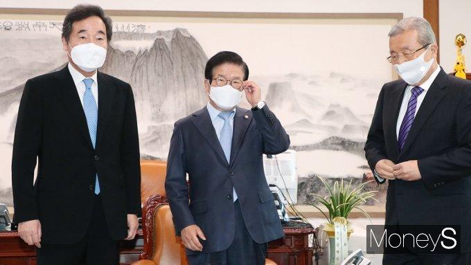 [머니S포토] 이낙연·김종인 박병석 의장 주재 회동..공수처 등 논의